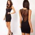 Czarna mini sukienka z koronki SOL16038